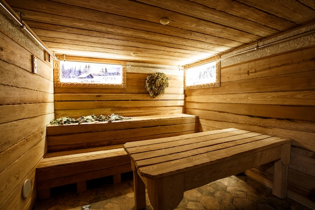 Wooden russian sauna