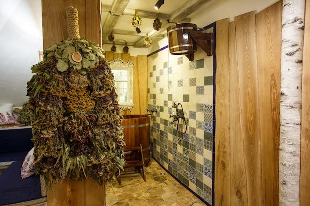 Wooden russian sauna