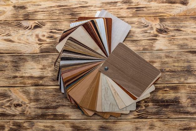 Wooden sampler for furniture on the desk