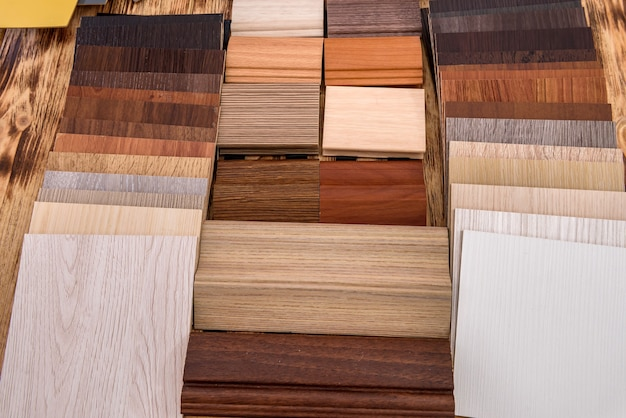 Wooden samples on the table top view