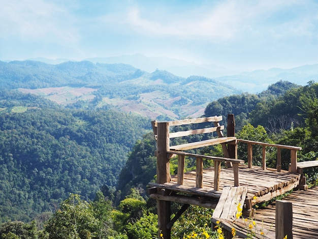Wooden seat at viewpoint in mae hong sorn province, northen of thailand.