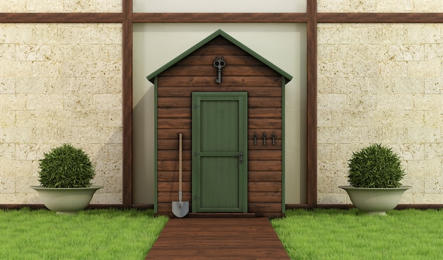 Wooden shed in a classic garden