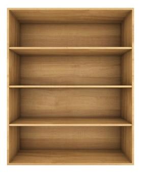 Wooden shelf. 3d render on white space.