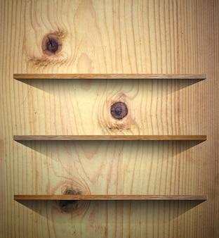 Wooden shelf for books or product presentation background