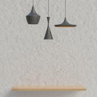 白いレンガの壁のミニマリストスタイルの製品プレゼンテーション用の木製棚。