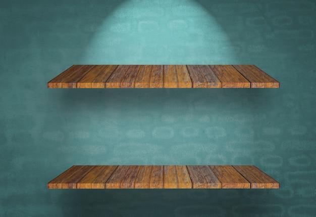 青い壁に木製の棚
