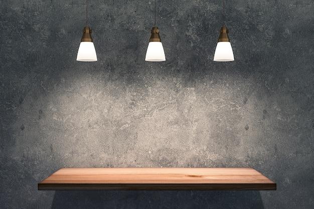 Деревянная полка на бетонной стене с подсветкой