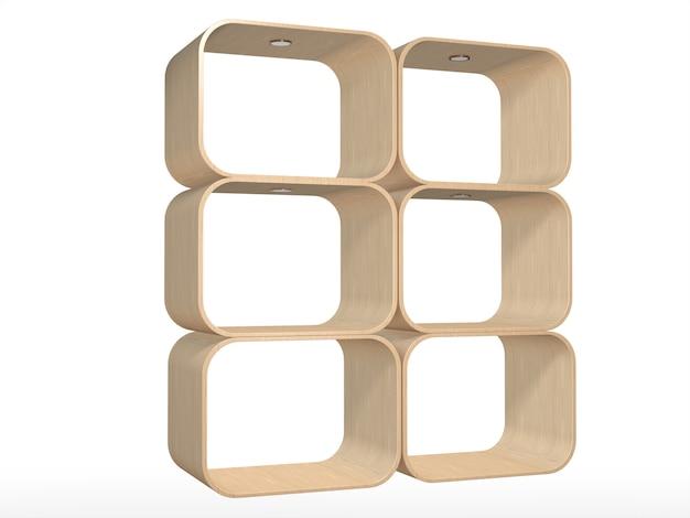 Wooden shelves on isolate object