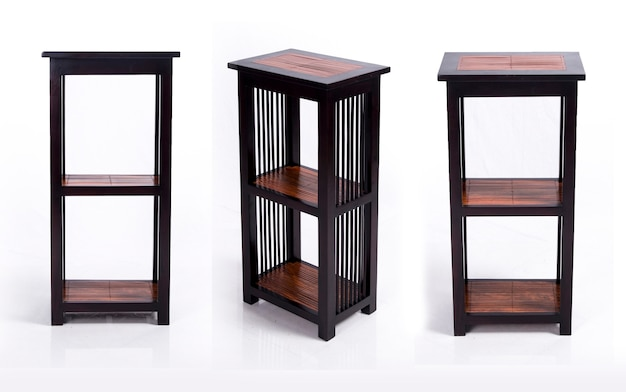 Wooden shelves made of wood and bamboo asian room interior