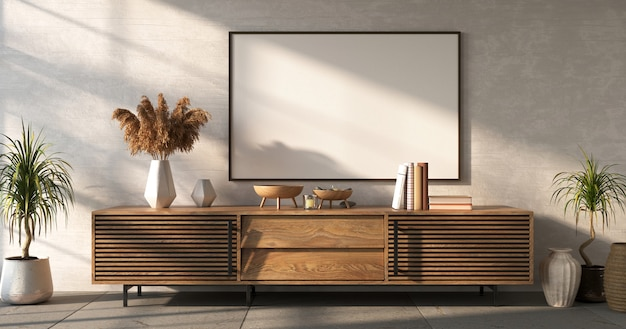 Wooden sideboard with decor on white wall background living room mockup 3d render