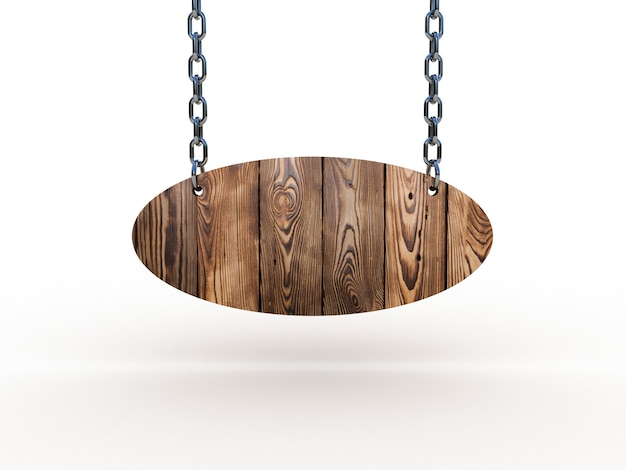 Wooden sign hanging on chains