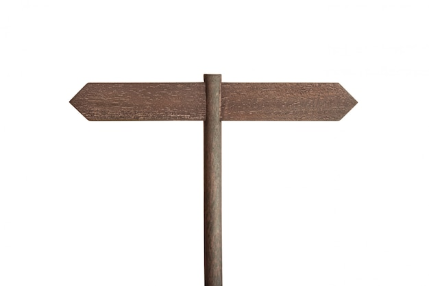 Wooden sign post with two blank boards pointing in different directions