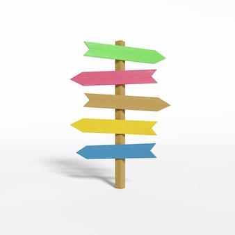 さまざまな方向を指す木製の看板。交差点の看板。 3dレンダリング。