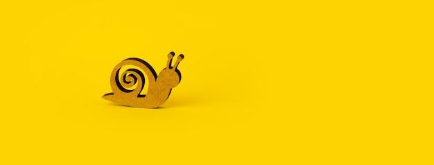黄色の背景の上の木製のカタツムリ、テキスト用のスペースとパノラマのモックアップ