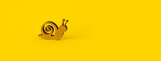 Wooden snail over yellow background, panoramic mock-up with space for text