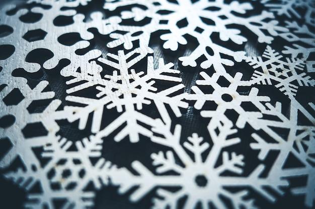 나무 눈송이 크리스마스 장식. 배경 장식
