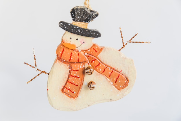 Wooden snowman ornaments on white background