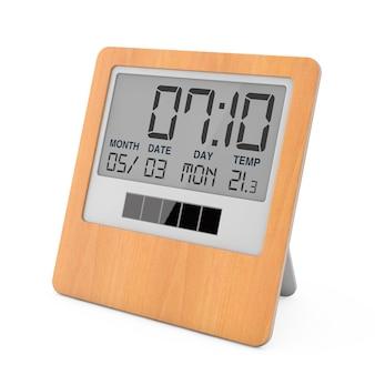 흰색 바탕에 나무 태양 디지털 현대 알람 시계. 3d 렌더링