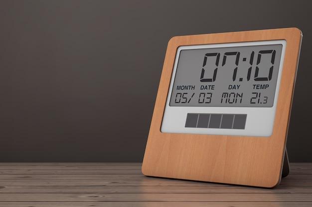 나무 테이블에 나무 태양 디지털 현대 알람 시계. 3d 렌더링