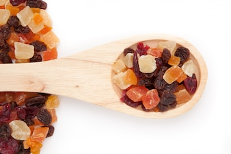 Wooden spoon with dried fruit