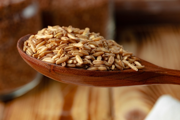 Wooden spoon with raw uncooked oats grain