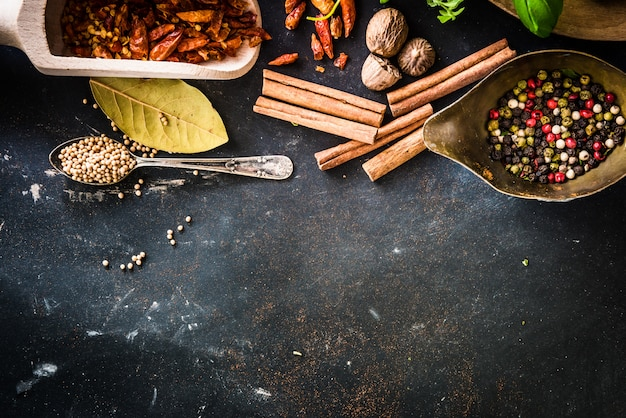 Wooden spoons with spices and herbs