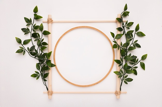 Wooden square and circle frame decorated with green leaves on white backdrop