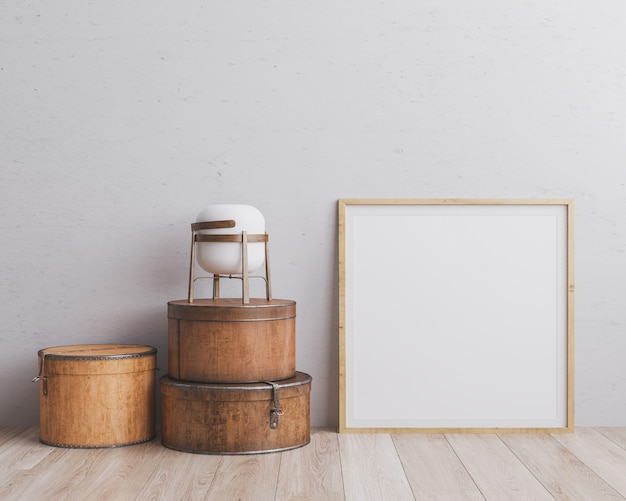 Wooden square frame with various round suitcases