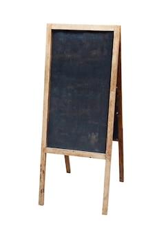 白で隔離の木製スタンディングメニュー黒黒板