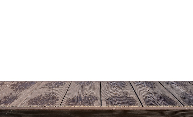 Wooden striped table top with sand on white background