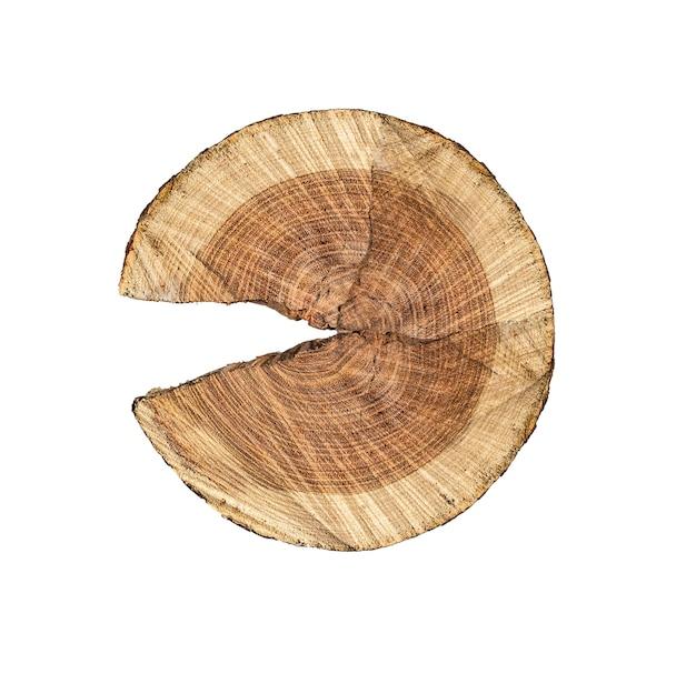 Деревянный пень изолированный на белой предпосылке. с обтравочным контуром