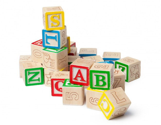 Wooden surface alphabet blocks isolated