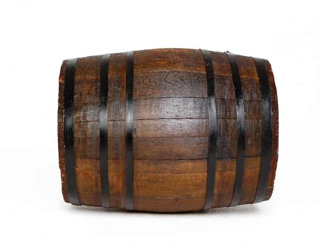 Wooden surface barrel with iron rings isolated