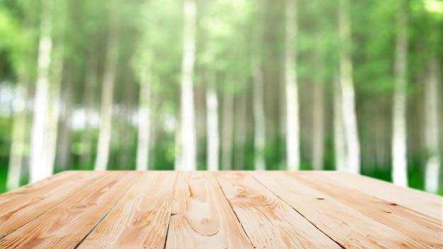 Wooden surface on blurry birch forest background