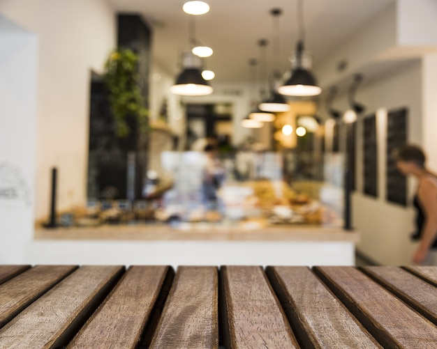 Wooden surface looking out to bar