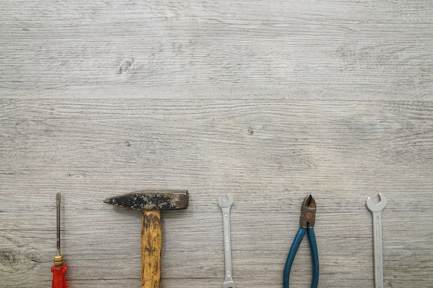 Wooden surface with variety of tools