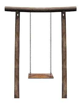 Wooden swing hanging on wooden pillar isolated on white with clipping path