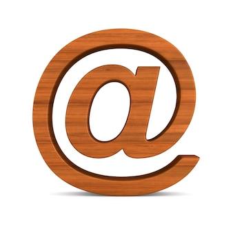Деревянный символ электронной почты на пустом месте. изолированные 3d иллюстрации