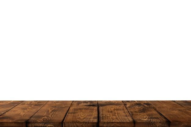 木製のテーブルの背景、キッチン、ショップ、ストア、カフェ、レストランの背景に食品を表示するための空の茶色の木製のテーブルトップ、木製のテーブルトップ、カウンター、食品棚のモックアップ、バナー、テンプレート。