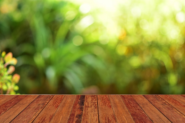Wooden table bar green background