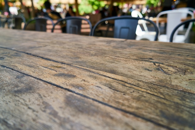 Wooden table in the cafe