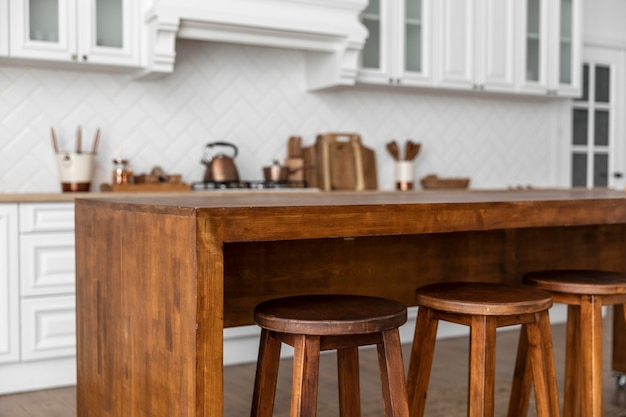 Wooden table and chairs in kitchen