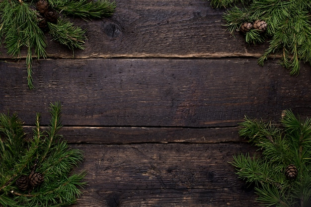 Wooden table and christmas tree