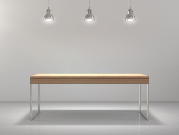 빈에 표시되는 제품에 대한 나무 테이블.