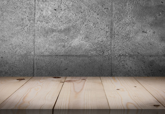Wooden table in front of wall room