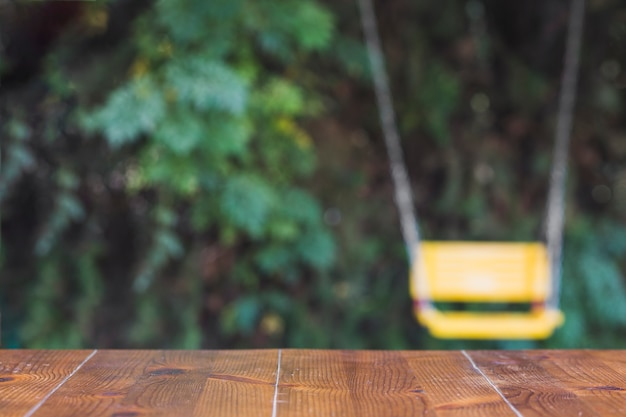 Wooden table in garden