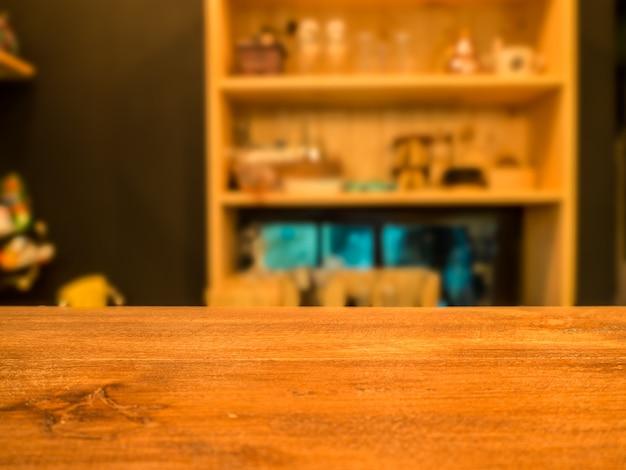 추상적 인 배경 흐리게 앞 나무 테이블