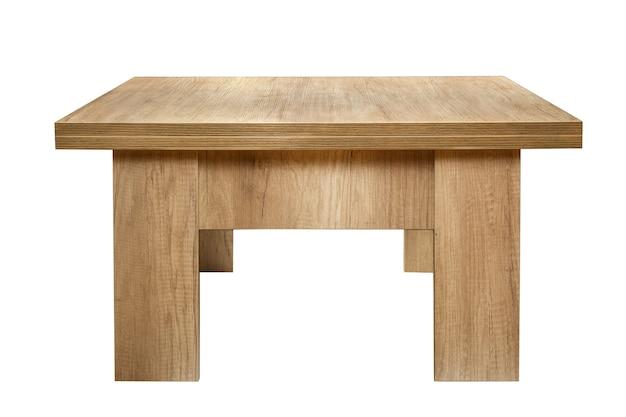 흰색 배경에 고립 된 나무 테이블입니다.