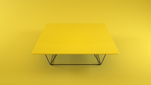 Wooden table isolated on yellow background. 3d illustration.