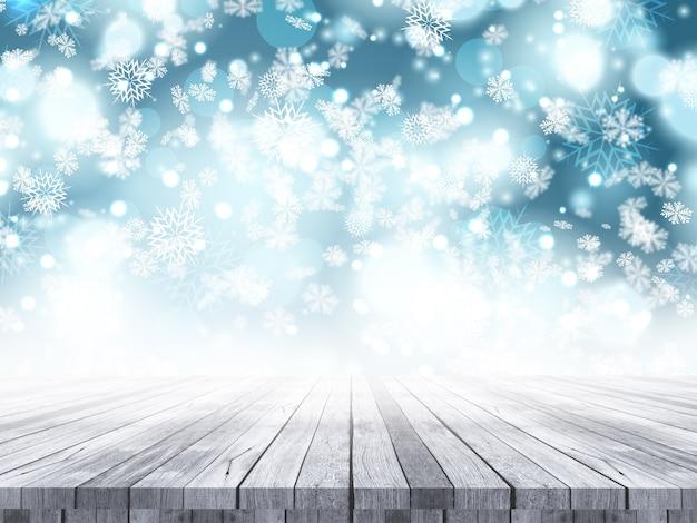 Деревянный стол на фоне рождественской снежинки